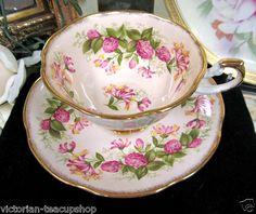 Rosina Teacup Peach Wild Flowers Tea Cup and Saucer | eBay