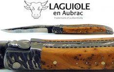 Laguiole en Aubrac handmade and forged knife, juniper, brut de borge blade, hammerstroke chops, double plates  www.lennertz.de