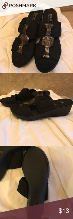 Black Wedge Sandals w/Gold Accent Munro sandals in great condition, only lightly worn.  Size is 8.5 narrow, but fit more like 8 narrow. Munro Shoes Sandals