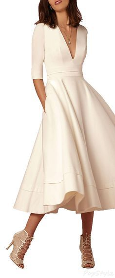 Vintage Soft Satin Long Sleeve Dress. And I want the shoes, too!