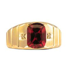 Antique Cushion Cut Ruby Gemstone Diamond Men's Gold Ring - Gemologica, A Fine Online Jewelry Store