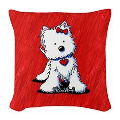 Burlap throw pillow featuring Westie Terrier art by contemporary PUP artist, KiniArt.