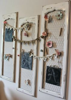 Beautiful use of old drawer fronts! Take out the inset, chalk paint, add chicken wire and hang.