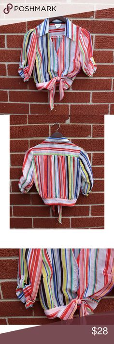 Vintage Crop Top, 1970s Hippie Shirt, Button Down  perfect condition vintage crop top. Roll up sleeves with bottons, Low cut v-neck with button down front and attached tie at the waist. Size Small. Tag says San Julian. White with multicolored stripes. Vintage Tops Crop Tops