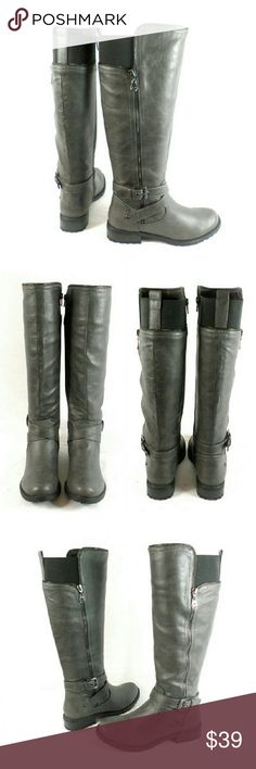 "G by Guess Halsey Tall Shaft Riding Boots Thanks for checking out my closet. I take all my own pics. The boots are authentic and new in box. Boots have man made upper with 1"" heel, 15"" shaft height, and 15"" calf opening circumference. G by Guess Shoes Heeled Boots"