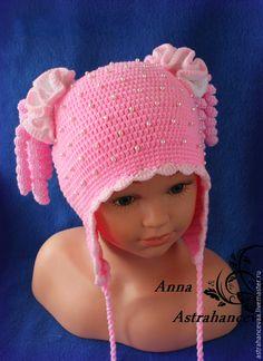 """Купить Шапочка для девочки вязаная """"Кудряшки"""" - розовый, шапочка для девочки, шапочка вязаная, кудряшки, завитушки"""