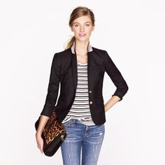J. Crew Schoolboy Blazer in Black slightly shrunken, superchic fit and the same details you fell in love with—including a secret interior pocket for carrying little extras like lipstick (and hello, ChapStick). Size 2.  Wool flannel. Lapel collar. Functional buttons at cuffs. Chest welt pocket, welt flap pockets. J. Crew Jackets & Coats Blazers