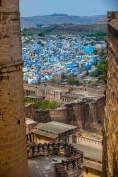 Photographic Print: The View from Mehrangarh Fort of the Blue Rooftops in Jodhpur, the Blue City, Rajasthan by Laura Grier : Jodhpur, City Photography, Nature Photography, Places Around The World, Around The Worlds, India Asia, Rajasthan India, Blue City, India Travel
