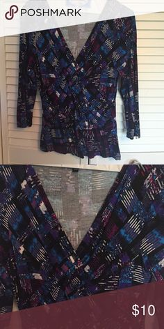V-Neck, Jewel Tone Top! 3/4 sleeve / 97% viscose, 3% spandex / only worn once Cable & Gauge Tops Blouses
