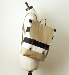 Ivory and beige canvas backpack laptop backpack school by BagyBags