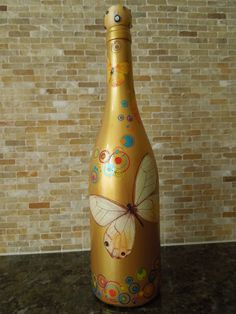 Image Search Results for painted bottle Liquor Bottle Crafts, Wine Bottle Art, Painted Wine Bottles, Diy Bottle, Bottles And Jars, Glass Bottles, Decorated Bottles, Wine Craft, Wine And Liquor