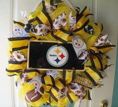 Steelers Mesh Wreath Football Decor Handmade Yellow Black by MeshWreathsnMore on…