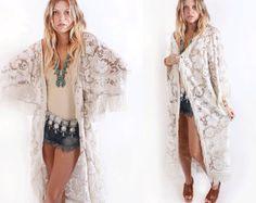 Lace baggy kimono