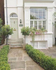 Cottage front doors - Exterior paint colors for house - House front - Exterior doors - Front ga Front Door Entrance, Front Entrances, Bay Tree Front Door, Exterior Paint Colors For House, Paint Colors For Home, Paint Colours, Door Design, Exterior Design, Victorian Front Garden