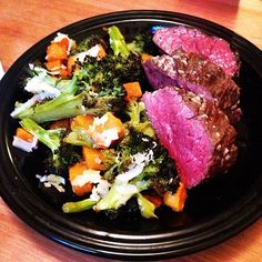 #hangersteak with garlic butter and roasted #broccoli and #butternut topped with #parmesan for #dinner. #realfood #localfood #food #yum