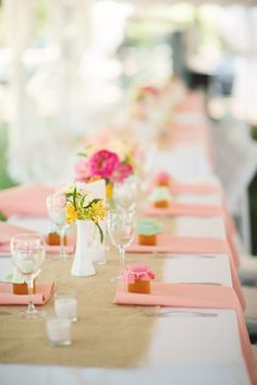 rustic meets bright pops of color on these tables  Photography by ginacristinephotography.com, Floral Design by tulipdesignstudio.com