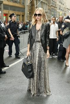 Faux?? leather jacket and a sequin maxi. a thousand times yes. #rachelzoe