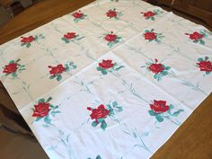 Vintage Wilendur Red Rose Tablecloth 1950's by AStringorTwo