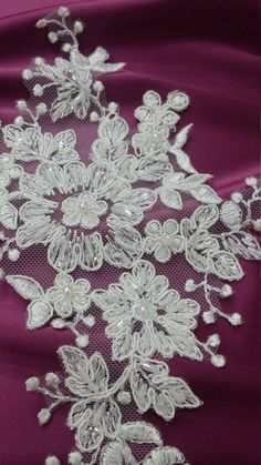 Ivory Lace applique Beaded lace applique French Chantilly