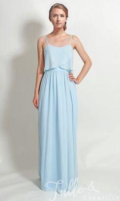 Long Chiffon Flutter Neckline Bridesmaid Dress with Spaghetti Straps TBQP344 f928b38c1702