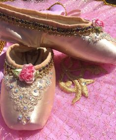 Decorated Pointe Shoes - Gold Ballet