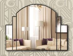 Canora Grey It is a beautifully shaped mirror with a presence that will add style to any room exclusively designed and handcrafted. Large central mirror is bordered by two smaller sections of the mirror and finished with a black ebony trim. Entryway Mirror, Wall Mirror, Mantle Art, Mirrored Picture Frames, Overmantle Mirror, Handmade Mirrors, Art Deco Mirror, Mirror Makeover, Design Furniture