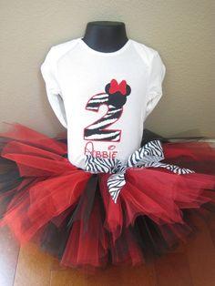 Personalized Minnie Mouse Birthday Tutu Set - Zebra & Red