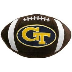 $12 Georgia Tech Yellow Jackets Brown Team Logo Football Pillow
