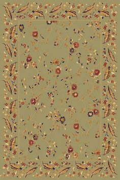 Dynamic Rugs Yazd Green-Green Floral Rectangle Area Rug