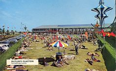 An exercise in clever marketing - the Sunbathing Lawns at Butlin's Clacton Holiday Camp Note the encroachment of the passenger car, around which holiday camps had not been designed. Butlins Holidays, 1960s Britain, British Holidays, Seaside Holidays, Holiday Day, England Uk, Vintage Holiday, Old Pictures, Dolores Park