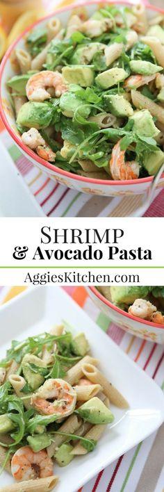 Roasted lemon pepper shrimp tossed with whole wheat pasta, creamy avocado, arugula, lemon & Parmesan makes this Shrimp & Avocado Pasta dish extra delicious!