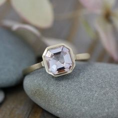 Morganite Gemstone Ring, Asscher Cut Morganite in 14k yellow Gold, Engagement  Ring... my dream, just not matte gold