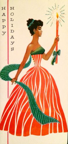 A dreamy peppermint inspired dress. | 17 Beautifully Festive African-American Christmas Cards From The 1950s And '60s