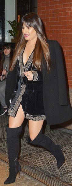 Who made  Lea Michele's black velvet dress, black suede thigh boots, and jewelry?