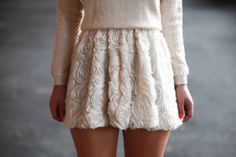 skirt white flower flowers girl girly cute fashion outfit short skirt rose rosey ivory style pretty nice white skirt sweater sweater shirt f...