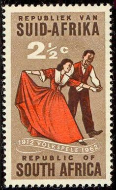 """South Africa 1962 SG 221 Volkspele folk-dancing Fine Used SG 221 Scott 281 Condition Fine Used Only one post charge - I remember the """"tikkie-draais"""" PDL 2017 Union Of South Africa, Commemorative Stamps, Travel Planner, My Land, African History, Africa Travel, Stamp Collecting, Postage Stamps, Folk"""