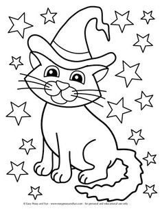 Halloween Coloring Pages - Easy Peasy and Fun Magical Cat Coloring Page Pumpkin Coloring Pages, Fall Coloring Pages, Cat Coloring Page, Coloring Pages For Boys, Free Printable Coloring Pages, Free Coloring, Coloring Books, Kids Coloring, Halloween Activities For Kids