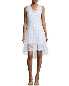 T9QA8 Rebecca Taylor Sleeveless V-Neck Tile-Lace Dress, Sea Salt