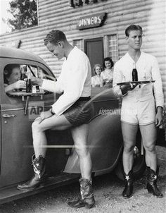 """Drive-in car hops in shorts and cowboy boots at the Log Lodge Tavern near Love Field Airport in Dallas, Texas,  A woman from Oak…"""" Steve Mcqueen, Donald Trump, Pin Up, Dallas Morning News, Scantily Clad, Flirt, Indie Outfits, Vintage Photography, Artistic Photography"""