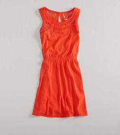 AE Lattice Detail Dress   American Eagle Outfitters