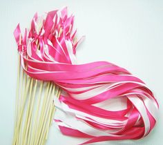 100 Wedding Wands no bell ribbon wands ceremony wands you pick your colors send off streamers bubbles