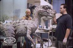 Jim Charmatz and Trevor L. Hensley add color details to a male JURASSIC PARK III velociraptor.