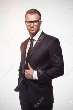 Businessmanman In Black Suit And Glasses Stock Photo, Picture And Royalty Free Image. Image 19168250.