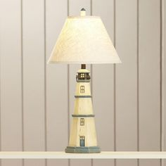 """Lighthouse 31.75"""" H Resin Table Lamp with Empire Shade Antique White Finish #Unbranded"""