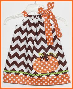 Fall Chocolate Chevron Stripe Applique Thanksgiving Pumpkin Dress-Thanksgiving,pumpkin,applique,chevron brown,orange polka dot,dress,girl,hand made