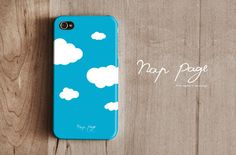 iPhone case decorated with clouds using decoupage and napkin paper