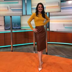 "4b1b47aa6 Debbie Harper on Instagram: ""@gmb @lauratobinweather wearing @oasisfashion  sweater @dorothyperkins faux leather skirt @dune_london heels! 💛 ."