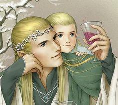 Fan sketch of Thranduil and wee Legolas