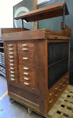 ANTIQUE Letterpress PRINTERS CABINET Work Bench U0026 Justifying Cabinet,  HAMILTON Terrific STORAGE U0026 WORK Station
