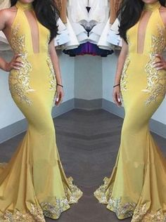 Elegant Prom Dresses, Yellow Mermaid Appliques Beautiful High-Neck Keyhole Evening Dress Evening Gown Shop for La Femme prom dresses. Elegant long designer gowns, sexy cocktail dresses, short semi-formal dresses, and party dresses. Pageant Dresses For Teens, Classy Prom Dresses, Elegant Bridesmaid Dresses, Simple Prom Dress, Prom Dresses 2018, Tulle Prom Dress, Beautiful Prom Dresses, Trumpet Dress Prom, Dress Party